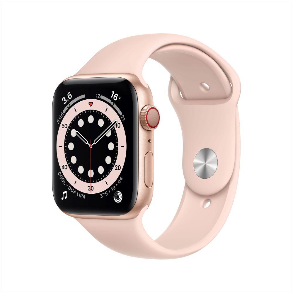 Apple Watch Series 6 Cellular 44mm 골드 알루미늄 케이스, 그리고 핑크샌드 스포츠 밴드 (MG2D3KH/A)