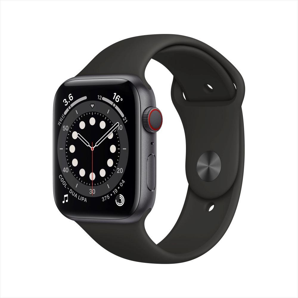 Apple Watch Series 6 Cellular 44mm 스페이스그레이 알루미늄 케이스, 그리고 블랙 스포츠 밴드 (MG2E3KH/A)