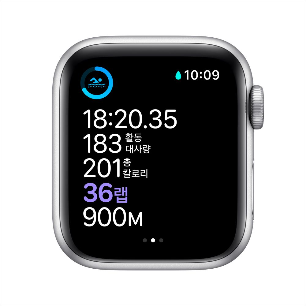 Apple Watch Series 6 GPS 44mm 실버 알루미늄 케이스, 그리고 화이트 스포츠 밴드 (M00D3KH/A)