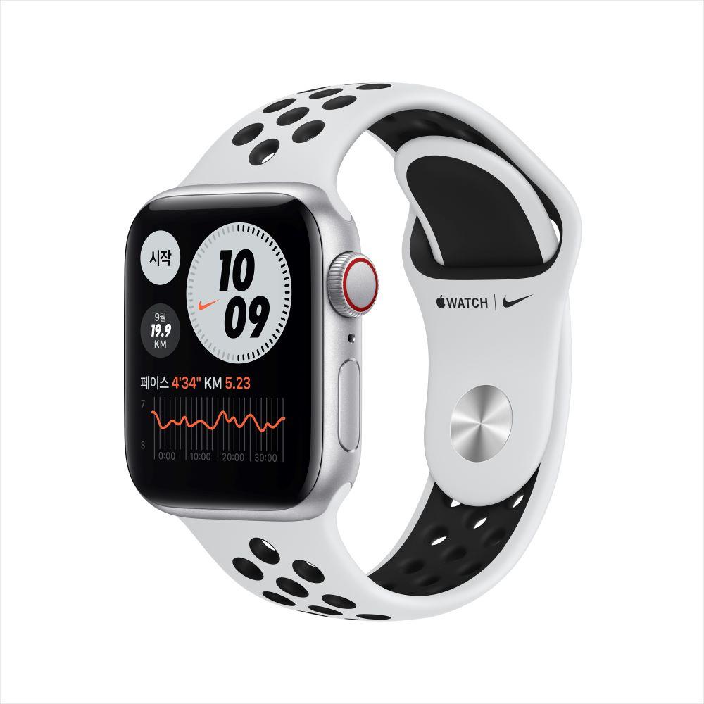 Apple Watch SE Nike Cellular 40mm 실버 알루미늄 케이스, 그리고 퓨어플래티넘/블랙 Nike 스포츠 밴드 (MYYW2KH/A)