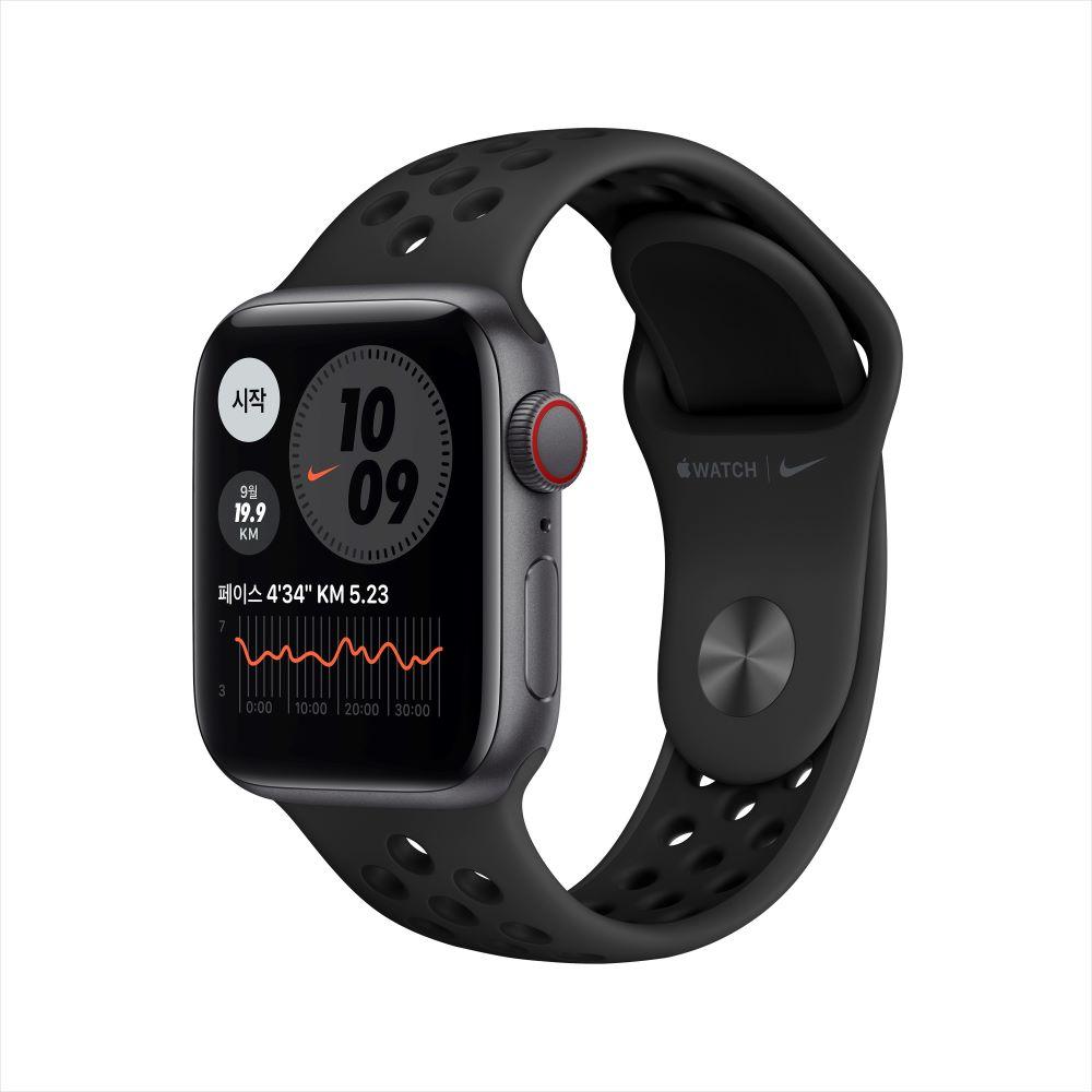 Apple Watch SE Nike Cellular 40mm 스페이스 그레이 알루미늄 케이스, 그리고 안트라사이트/블랙 Nike 스포츠 밴드 (MG013KH/A)