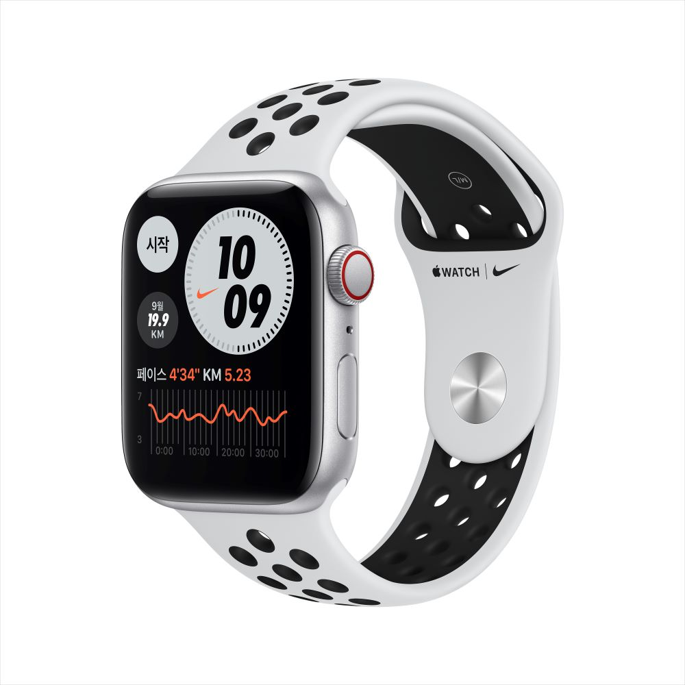 Apple Watch SE Nike Cellular 44mm 실버 알루미늄 케이스, 그리고 퓨어플래티넘/블랙 Nike 스포츠 밴드 (MG083KH/A)