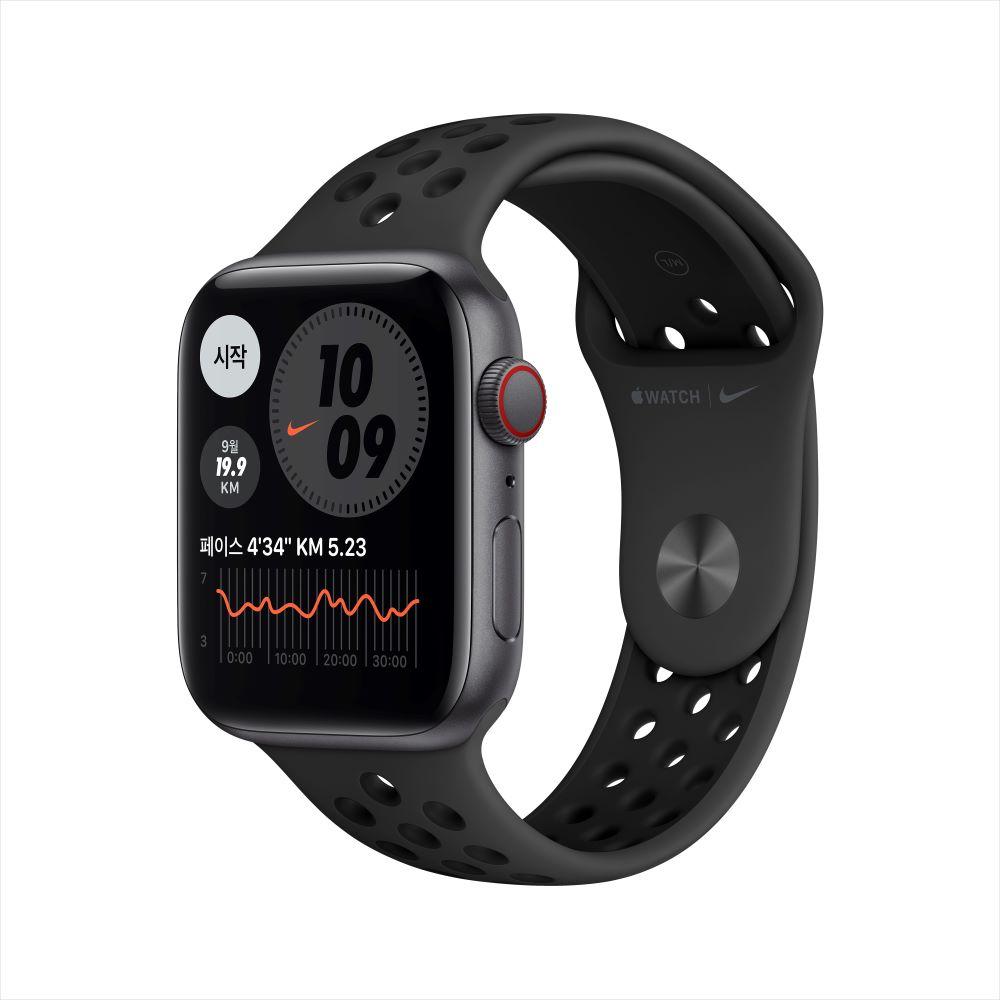 Apple Watch SE Nike Cellular 44mm 스페이스 그레이 알루미늄 케이스, 그리고 안트라사이트/블랙 Nike 스포츠 밴드 (MG0A3KH/A)