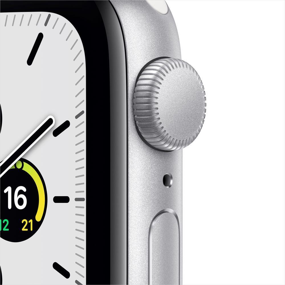 Apple Watch SE GPS 40mm 실버 알루미늄 케이스, 그리고 화이트 스포츠 밴드 (MYDM2KH/A)