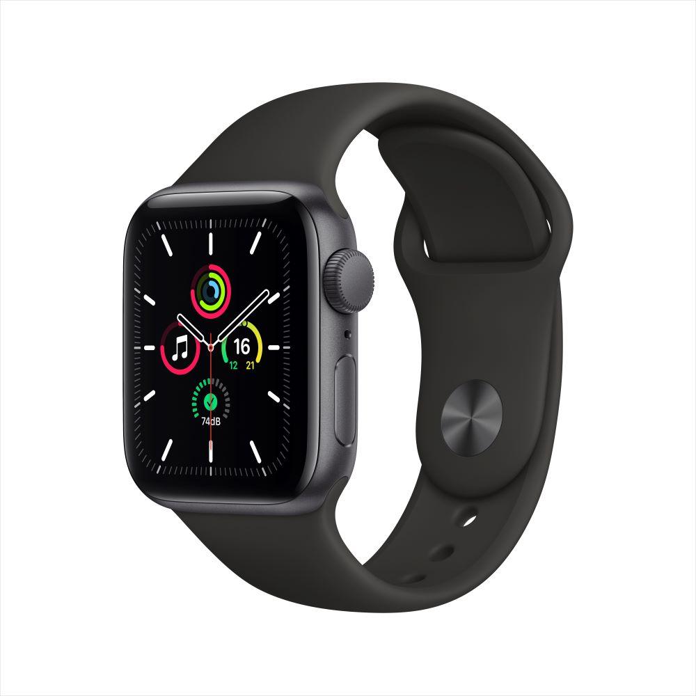 Apple Watch SE GPS 40mm 스페이스 그레이 알루미늄 케이스, 그리고 블랙 스포츠 밴드 (MYDP2KH/A)