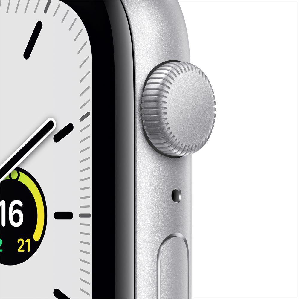 Apple Watch SE GPS 44mm 실버 알루미늄 케이스, 그리고 화이트 스포츠 밴드 (MYDQ2KH/A)