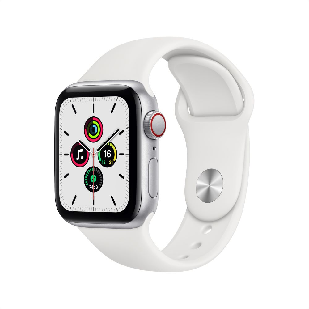 Apple Watch SE Cellular 40mm 실버 알루미늄 케이스, 그리고 화이트 스포츠 밴드 (MYEF2KH/A)