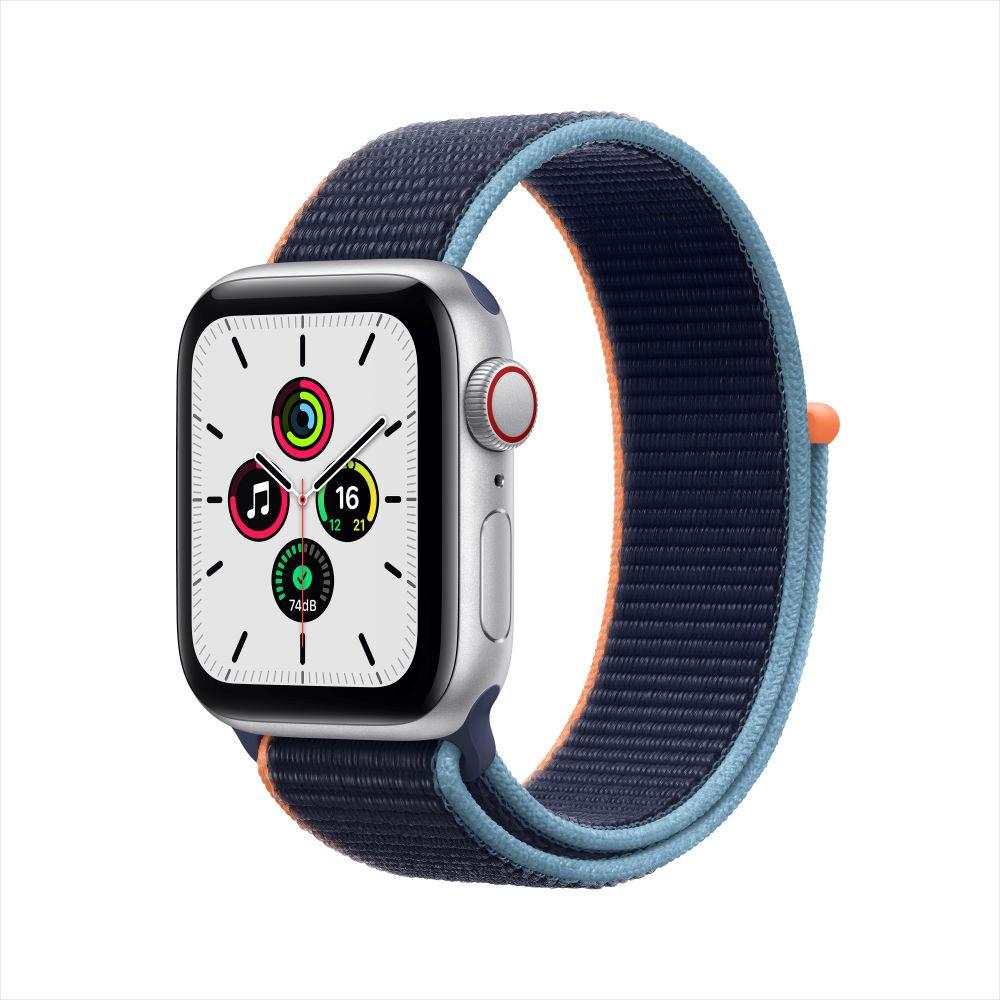 Apple Watch SE Cellular 40mm 실버 알루미늄 케이스, 그리고 딥 네이비 스포츠 루프 (MYEG2KH/A)