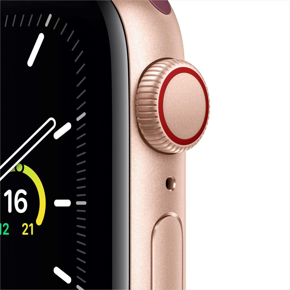 Apple Watch SE Cellular 40mm 골드 알루미늄 케이스, 그리고 플럼 스포츠 루프 (MYEJ2KH/A)