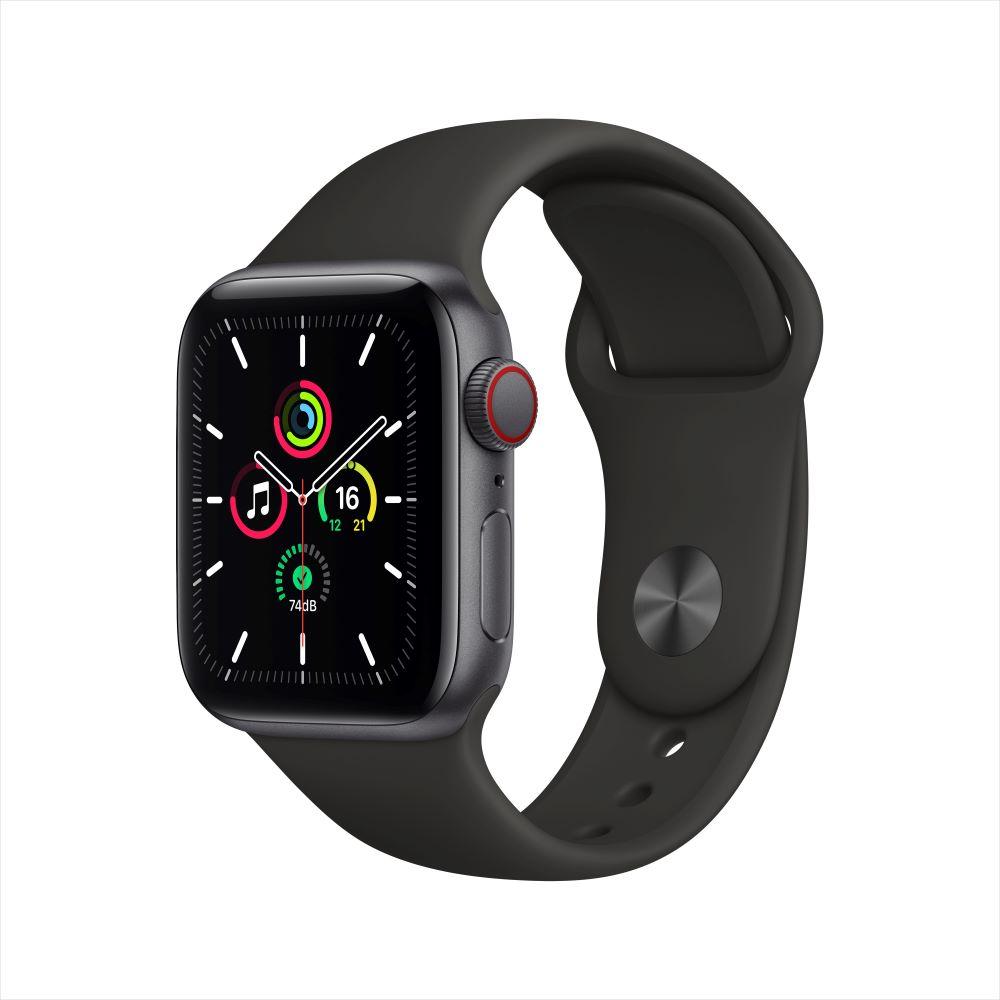 Apple Watch SE Cellular 40mm 스페이스 그레이 알루미늄 케이스, 그리고 블랙 스포츠 밴드 (MYEK2KH/A)