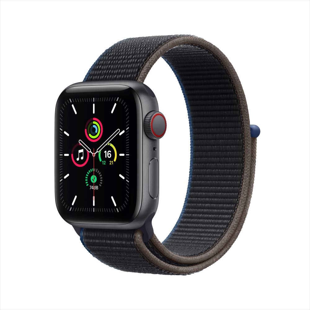 Apple Watch SE Cellular 40mm 스페이스그레이 알루미늄 케이스, 그리고 차콜 스포츠 루프 (MYEL2KH/A)