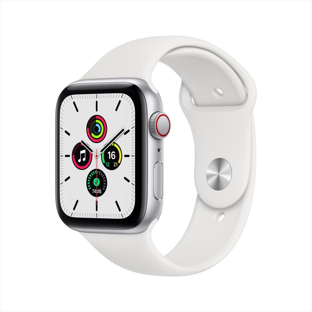 Apple Watch SE Cellular 44mm 실버 알루미늄 케이스, 그리고 화이트 스포츠 밴드 (MYEV2KH/A)