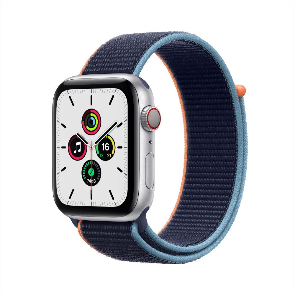 Apple Watch SE Cellular 44mm 실버 알루미늄 케이스, 그리고 딥 네이비 스포츠 루프 (MYEW2KH/A)