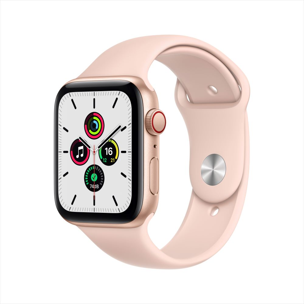 Apple Watch SE Cellular 44mm 골드 알루미늄 케이스, 그리고 핑크샌드 스포츠 밴드 (MYEX2KH/A)