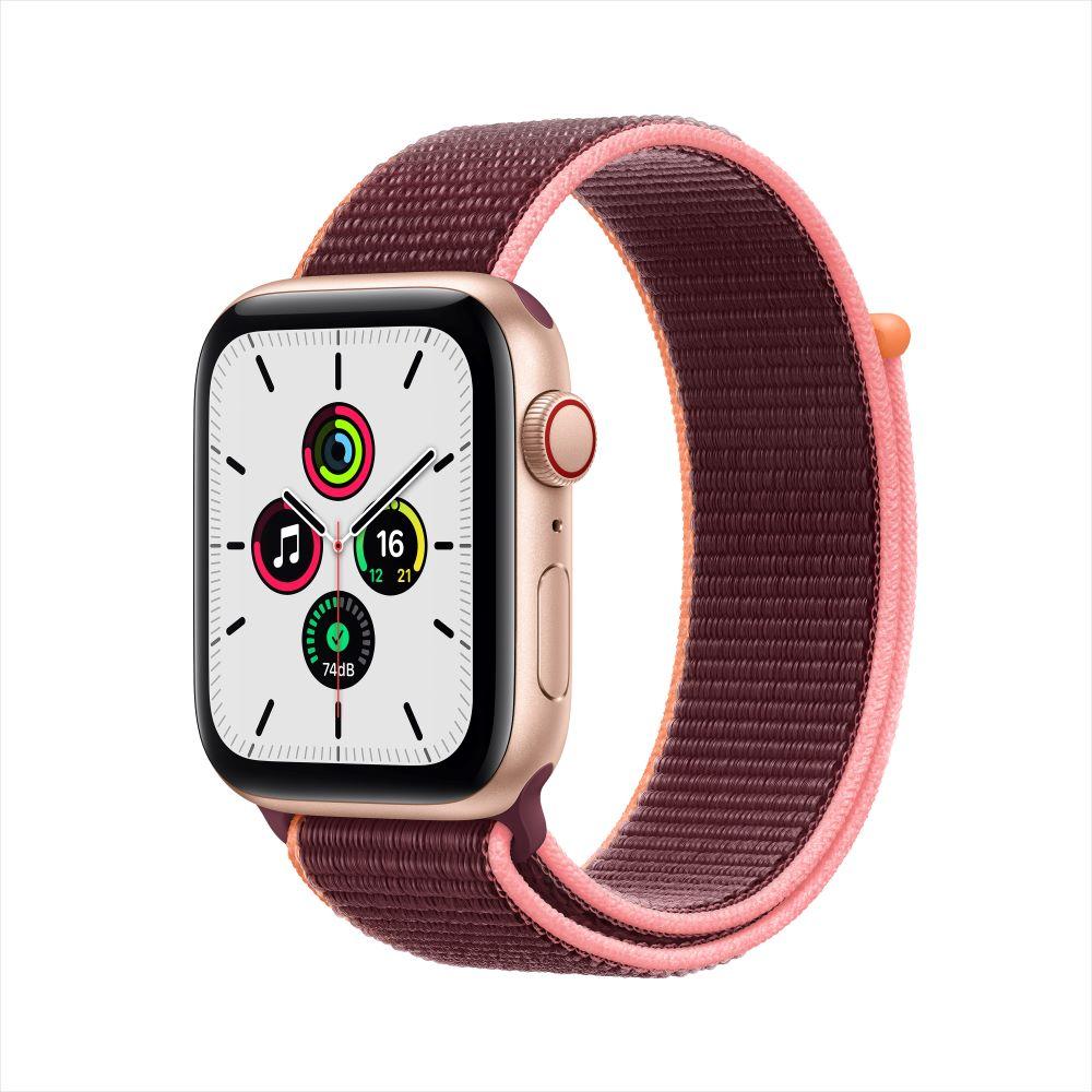 Apple Watch SE Cellular 44mm 골드 알루미늄 케이스, 그리고 플럼 스포츠 루프 (MYEY2KH/A)