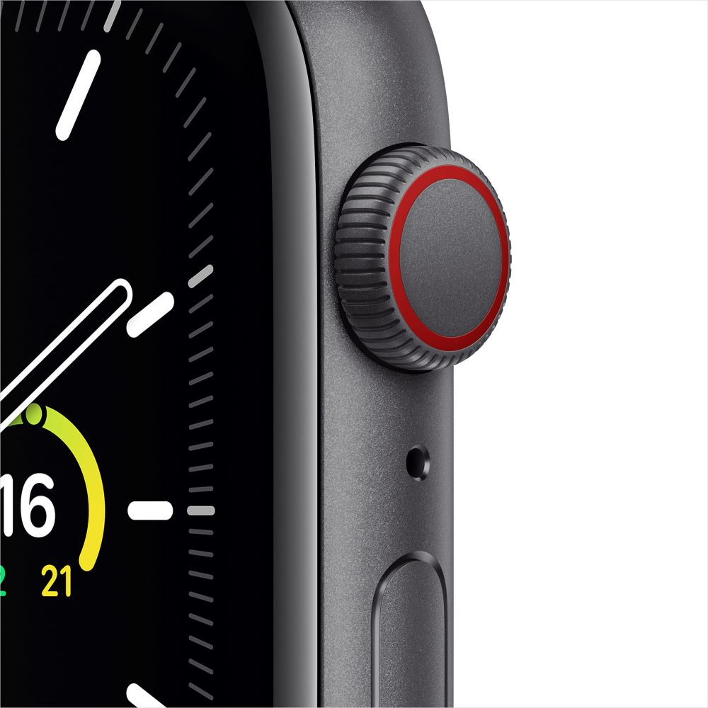 Apple Watch SE Cellular 44mm 스페이스그레이 알루미늄 케이스, 그리고 차콜 스포츠 루프 (MYF12KH/A)