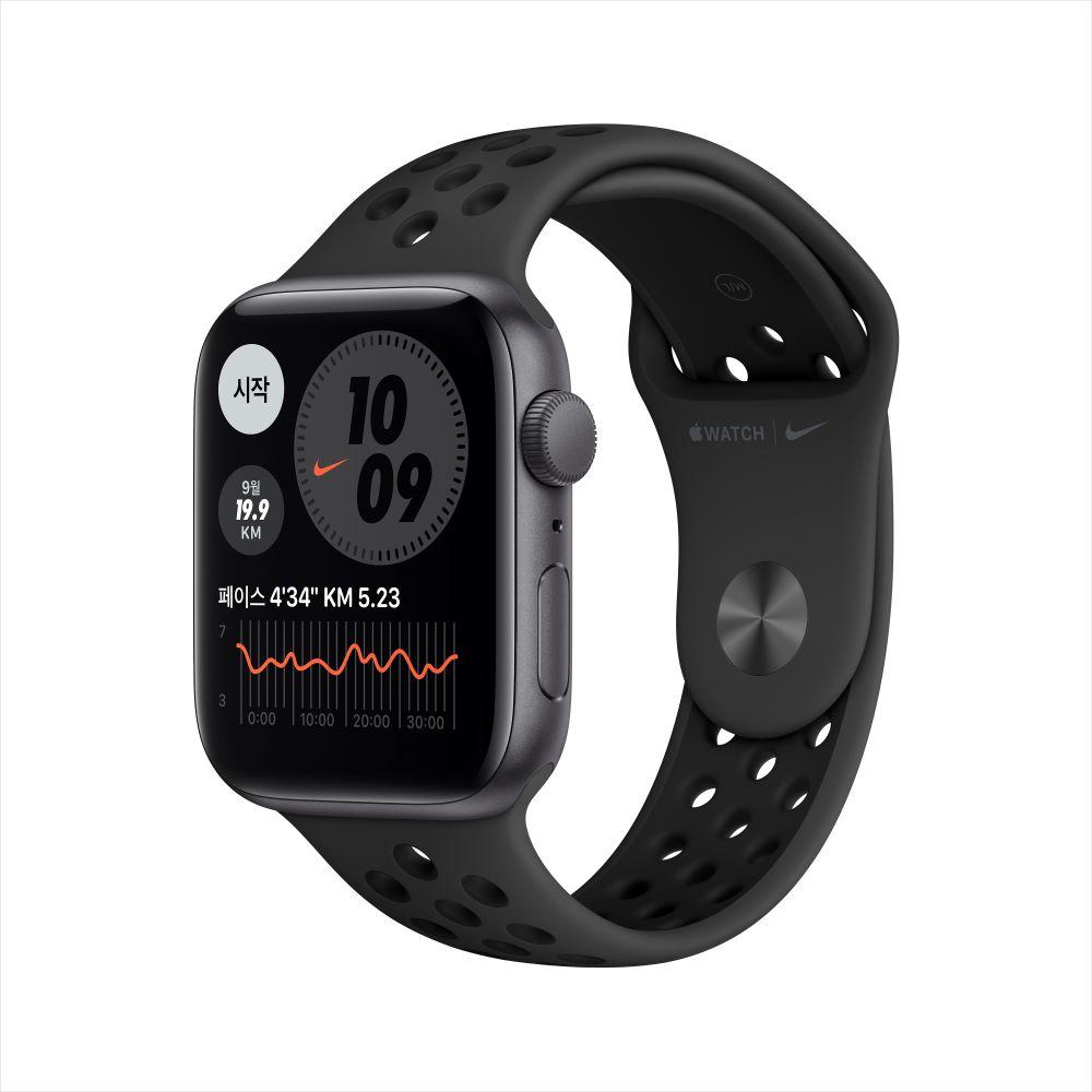 Apple Watch SE Nike GPS 44mm 스페이스 그레이 알루미늄 케이스, 그리고 안트라사이트/블랙 Nike 스포츠 밴드 (MYYK2KH/A)